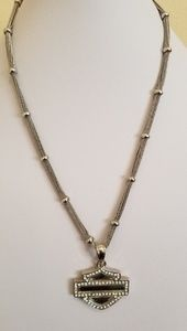 Harley Davidson Crystal Accent Shield Necklace